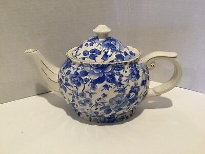 Vintage Blue and White Floral Teapot Staffordshire Earthenware - Made England