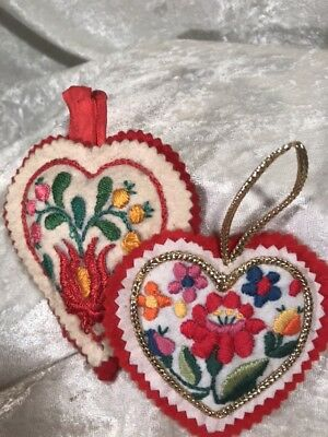 Vintage Handmade Embroidered Felt Heart Christmas Ornaments