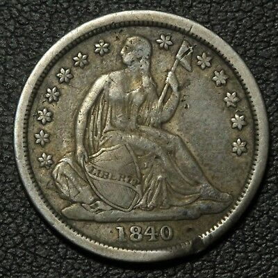 1840 No Drapery Seated Liberty Silver Dime - Damaged & Bent
