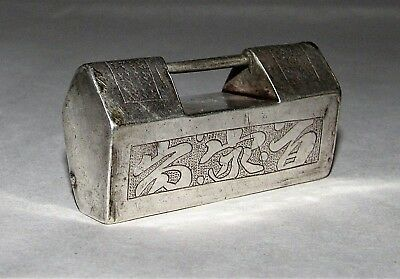 Chinese Silver Lock Pendant / Hand-Etched Jewelry / c.1850-1899
