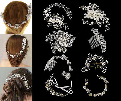 Wedding Bridal Hair Comb Crystal Flowers Slide Hair Comb Clip Headband