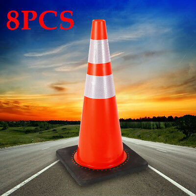 """8PCS PVC Traffic Cone Safety 28"""" with Two High-intensity Reflective Collars USA"""