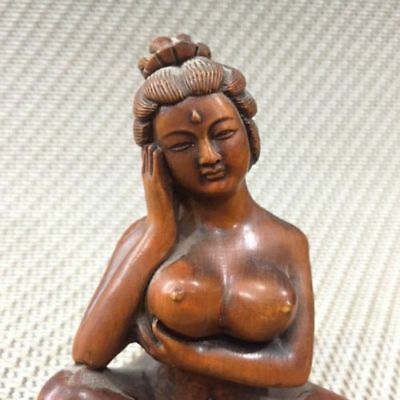 Chinese Old Collectible Handwork Boxwood Japanese Prostitutes Big Chest Statue