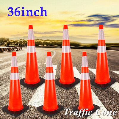 """6 Pack 36"""" Traffic Cone 2 Reflective Collars Road Emergency Parking Safety Sale"""