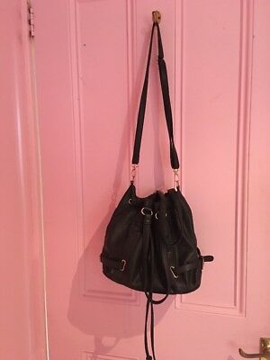 Women's Black Pu Leather Bucket Cross Body Hand Bag With Gold Detail
