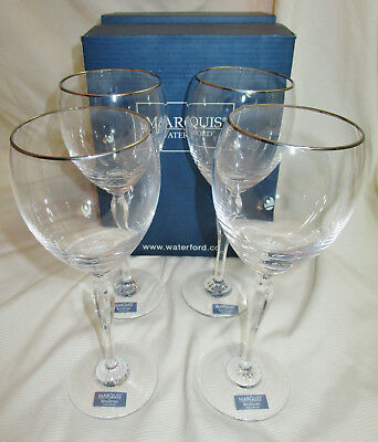 4 pc Waterford Marquis Allegra Platinum Red Wine Goblet Glasses Lead Crystal