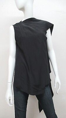 CELINE Women s 100% Silk Sleeveless Wrap Drape Top in Black Size  38 0ced964a96