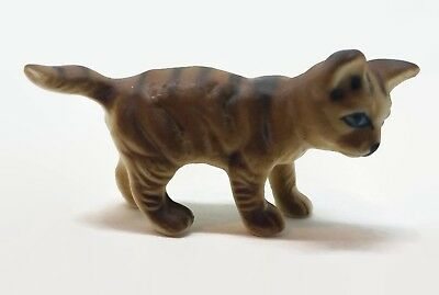 Porcelain Vintage Baby Cat Kitten Tabby Miniature Figurine Home Decoration