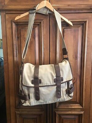 c752146676c34 TED BAKER LONDON Messenger Bag Khaki Canvas and Leather Shoulder Laptop Bag