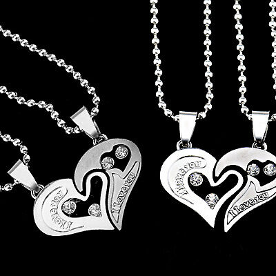 His and Hers Stainless Steel I Love You Heart Valentines Couple Pendant Necklace