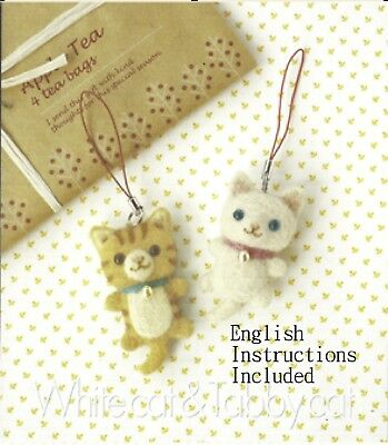 Wool Felting DIY Kit - White Cat and Tabby Cat (with ENGLISH instructions)