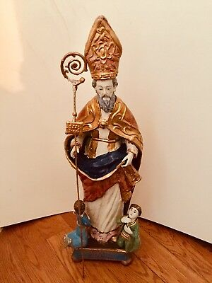 Large Antique Hand Carved Wood Polychrome Santo Saint Biagio Blaise Figure 23""