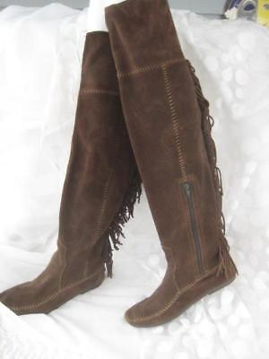 Minnetonka Fringed  Brown Suede Over the Knee Moccasin   Boots  Women's Size 8 M