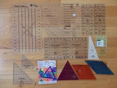 Big Lot of 16 Quilting Measures, Rules, Squares, Triangles, Diamonds- Some New