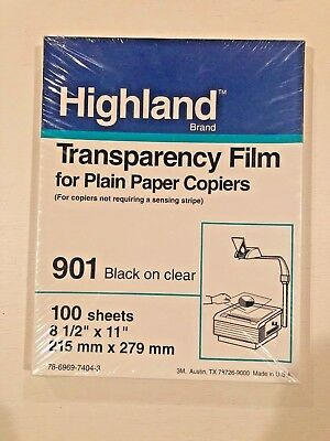 "901 HIGHLAND TRANSPARENCY FILM PLAIN PAPER COPIERS (100) 8.5"" x 11"" SHEETS NEW"