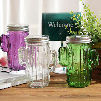 Cactus Succulent Drinking Glass Jar With Straw Choice Of Three Cold Drink