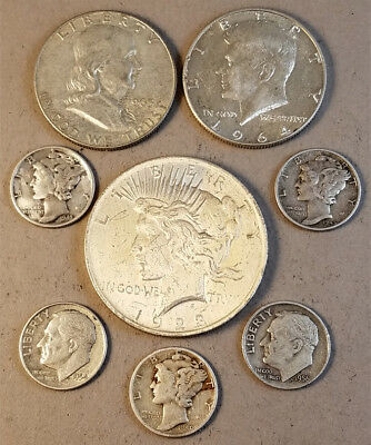"Lot:(8) US 90% Silver Coins-$2.50 Face Value-""Junk Silver"",pre-1965 & Peace $1"