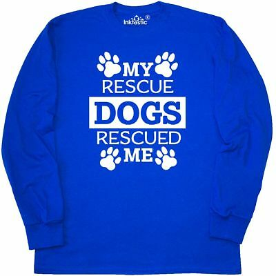 Inktastic My Rescue Dogs Rescued Me- Pawprints Long Sleeve T-Shirt Pets Dog Paws