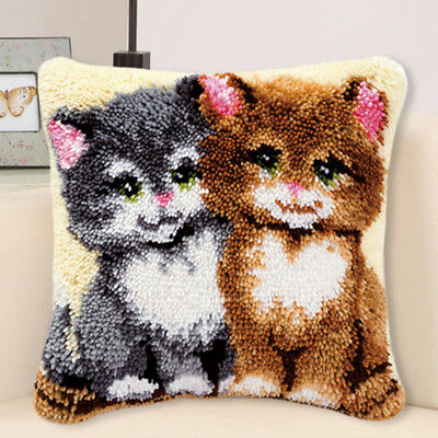 Handmade DIY Latch Hook Rug Making Kit Two Cats Cross Stitch Cushion Crafts