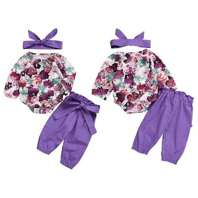 3PCS Newborn Baby Girls Floral Tops Romper+Pants+Headband Outfits Set Clothes