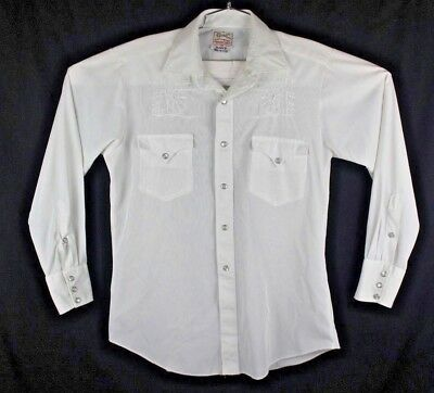 h bar c western wear men's size small medium vintage pearl snap white shirt