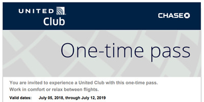 2 x United Club Passes One Time Pass Lounge Exp 07/12/2019 E-Delivery via Email