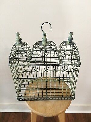 Antique Wrought Iron, Cathedral Style Vintage Hanging Bird Cage