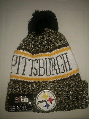 New Era Pittsburgh Steelers 2017 Sport Knit On-Field Pom Beanie Adult Hat f14926bf7dbe