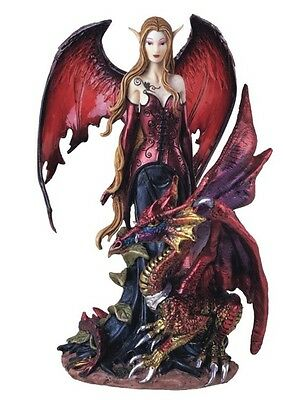 """8"""" Inch Red Black Fairy with Dragon Statue Figurine Figure Fantasy Magical"""