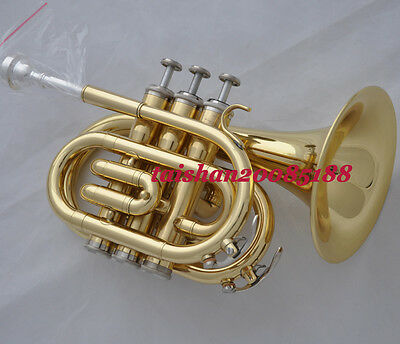 """New Gold Bb Pocket Trumpet horn gold 4.84"""" large bell with case"""