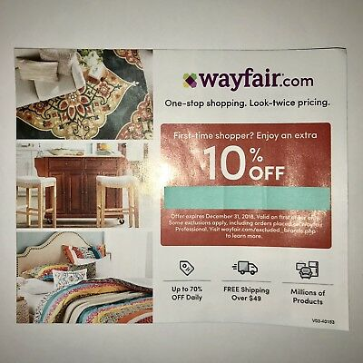 10% OFF WAYFAIR coupon code Expires December 31 2018! First - time Shopper Only