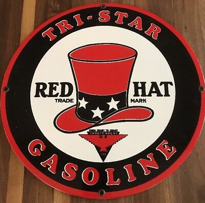 """Red Hat Motor Oil Gasoline Gas Service Station  12"""" Round Metal Advertising Sign"""