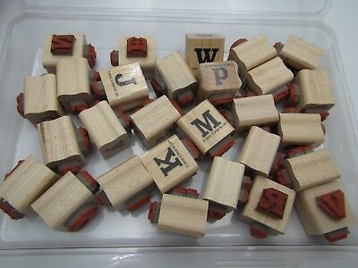 """Stampin"""" Up! 28pc Set """" UPPER & LOWER CASE LETTERS """" Wood Block Rubber Stamps"""