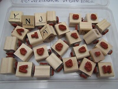 """Stampin"""" Up! 28pc Set """" UPPER & LOWER CASE BRUSH LETTERS """" Wood Rubber Stamps"""
