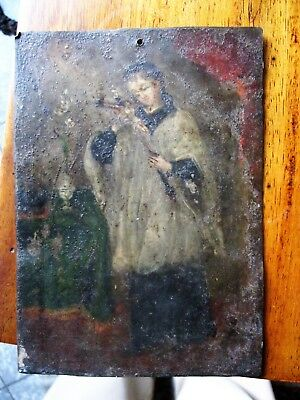 Original Antique Retablo On Tin With The Image Of A Young Saint Holding A Cross