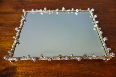 """OLIVIA RIEGEL Crystal Gold """"Pave Odyssey"""" Mirrored Vanity Tray New in Box"""