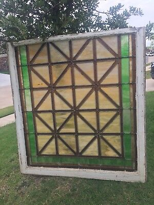 """Arts & Crafts Antique Stained Glass Window 44"""" X 40"""""""