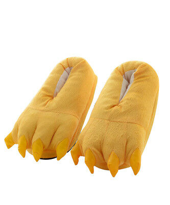 Cute Yellow Unisex Animal Cosplay Costume Flannel Adults Slippers US Size 5-10.5