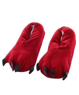 New Unisex Animal Cosplay Costume Flannel Adults Slippers Red US Size 5-10.5
