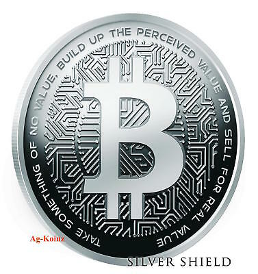 1 oz 2018 Bitcoin Proof - Crypto Series #1 Silver Shield 999 Bitcoin Blockchain