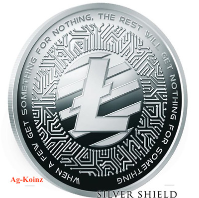 1 oz 2018 Litecoin Proof - Crypto Series #3 Silver Shield 999 Bitcoin Blockchain