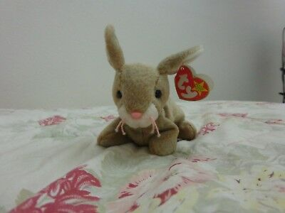 TY Beanie Baby - NIBBLY the Rabbit - With Tags - RETIRED Birthday May 7th 1998