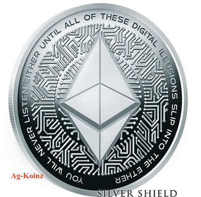 1 oz 2018 Ethereum Proof - Crypto series #4 Silver Shield 999 Bitcoin blockchain