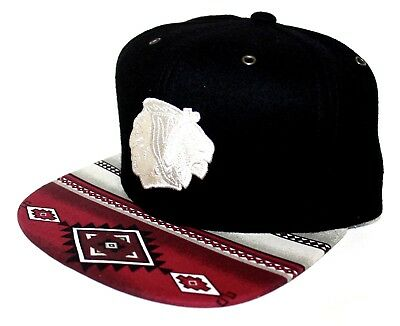 PICK1 Chicago Blackhawks Native Mitchell & Ness STRAP SnapBack Black Wool Melton