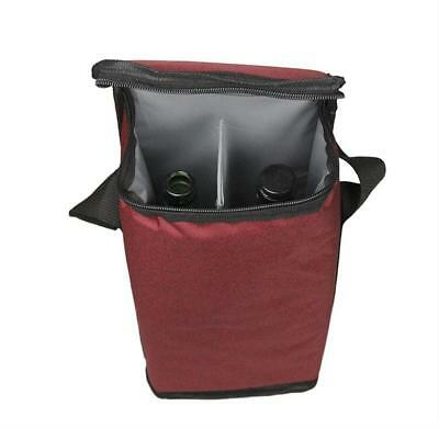 Insulated 2 Bottle Wine Bag Carrier Tote Carrying Cooler For Picnic Travel