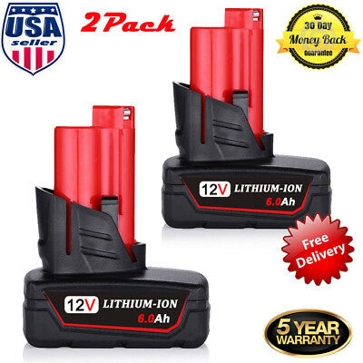 12Volt For Milwaukee M12 XC6.0 Lithium Compact Battery 2Pk 48-11-2460 48-11-2420