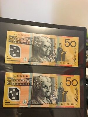 2016 $50 Note First And Last Prefix - AA and DA - Very Rare