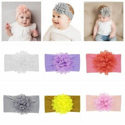 Baby Girls Newborn Elastic Nylon Bowknot Hollow Out Flower Headband Headwrap New