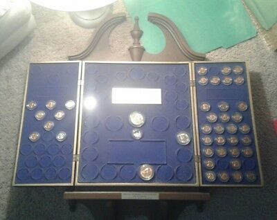 Eagle Symbol Wall Mounted Coin collection Display Case partially filled  collect