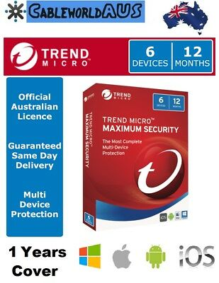 Trend Micro Maximum Security 2019 6 Devices 12 Months - OFFICIAL AUS LICENCE key